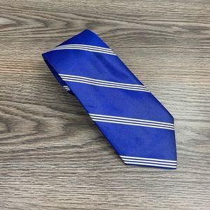 Aquascutum Blue w/ White Stripe Silk Tie